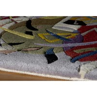 "Momeni New Wave Multicolor Hand-Tufted and Hand-Carved Wool Rug - Multi - 5'3"" x 8'"