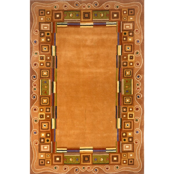 """Momeni New Wave Gold Hand-Tufted and Hand-Carved Wool Rug - 5'3"""" x 8'"""