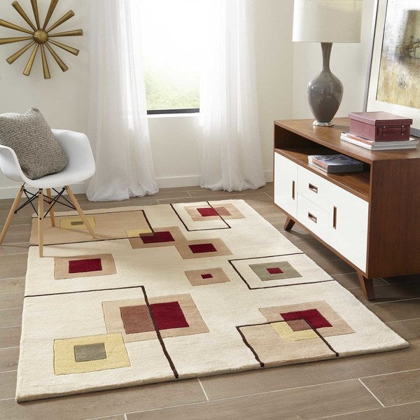 """Momeni New Wave Ivory Hand-Tufted and Hand-Carved Wool Rug - 5'3"""" x 8'"""