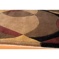 "Momeni New Wave Brown Hand-Tufted and Hand-Carved Wool Rug - 5'3"" x 8'"