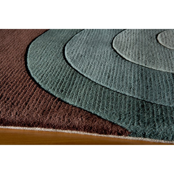Shop Momeni New Wave Teal Hand-Tufted And Hand-Carved Wool