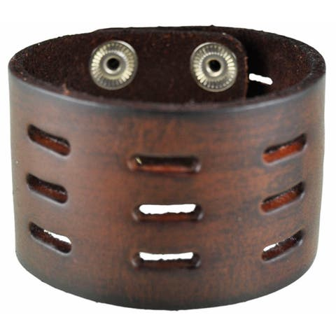 Nemesis Brown Perforated Slit Leather Cuff Bracelet