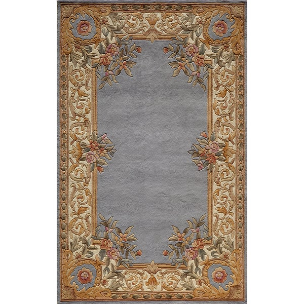 Aubusson Floral Border Hand-tufted Wool Area Rug (5' X 8