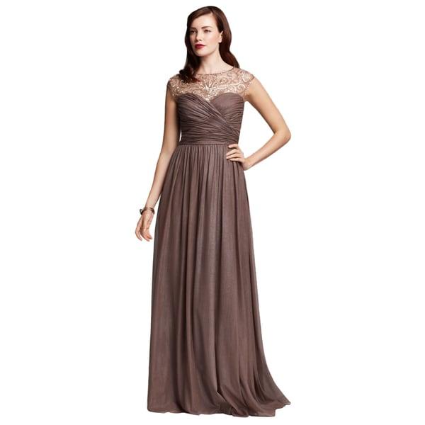 Aidan Mattox Women\'s Metallic Brown Foil Chiffon Formal Gown - Free ...