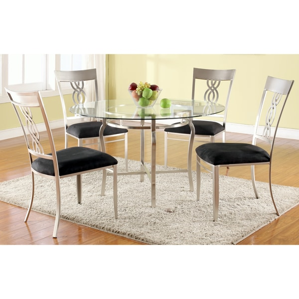 Christopher Knight Home Elena Round Glass Pedestal Dining Table - Silver