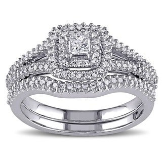 Miadora Sterling Silver 1/2ct TDW Princess and Round-cut Diamond Halo Bridal Ring Set