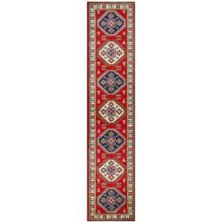 Herat Oriental Afghan Hand-knotted Tribal Kazak Red/ Ivory Wool Rug (2'10 x 12'8)