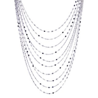 Karzia Italian Sterling Silver Graduated Mirror Necklace