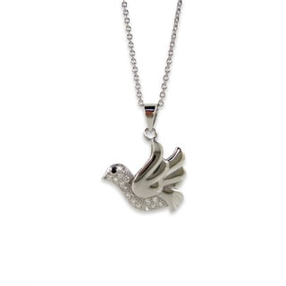 Kabella Sterling Silver Cubic Zirconia Dove Necklace