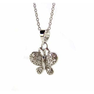 Kabella Sterling Silver Cubic Zirconia Butterfly Necklace