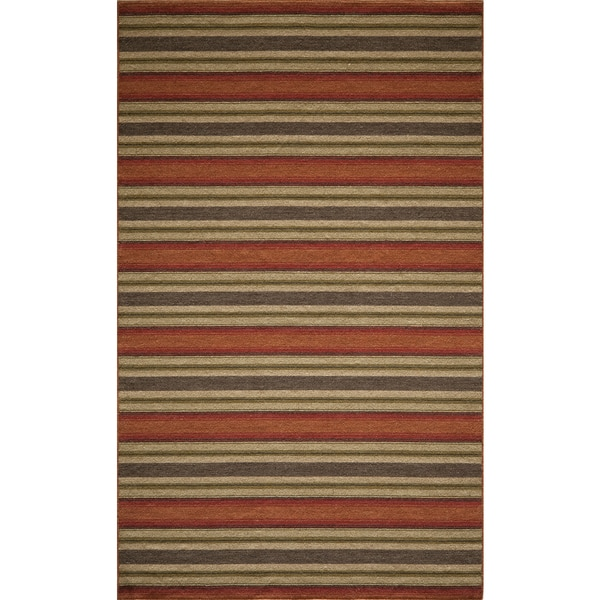 Danville Varigated Stripe Reversible Flat Weave Wool Dhurry Area Rug 5 39 X 8 39 Free Shipping