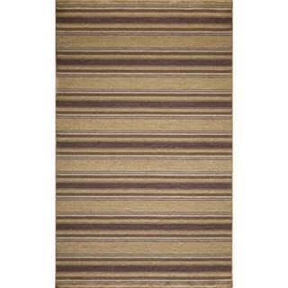 Danville Stripe Reversible Flat Weave Wool Dhurry Area Rug (5' x 8')
