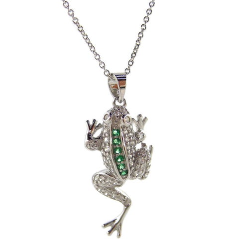 Kabella Leaping Frog White/ Green Cubic Zirconia Animal Pendant