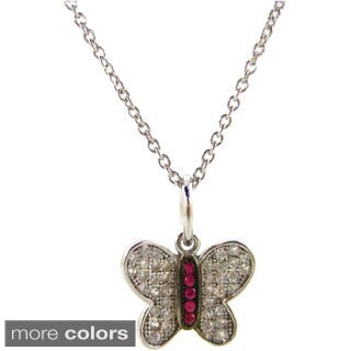 Kabella Sterling Silver Cubic Zirconia Butterfly Pendant Necklace
