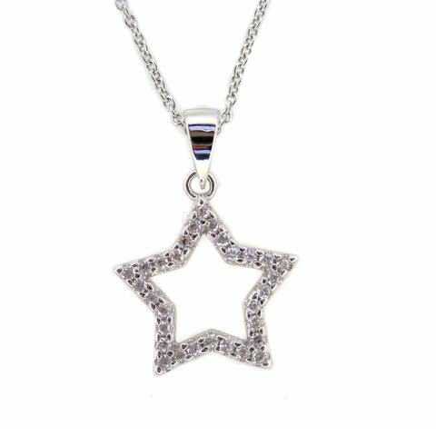 Kabella Sterling Silver White Cubic Zirconia Star Pendant