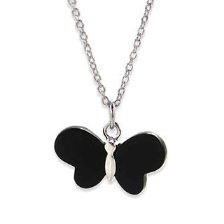 Kabella Sterling Silver Black Agate Butterfly Necklace