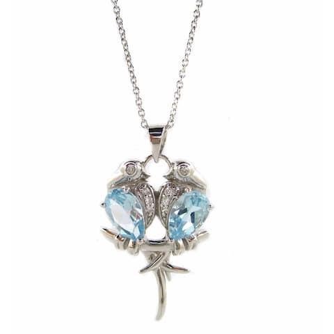 Kabella Sterling Silver Blue Topaz Lovebirds Pendant Necklace