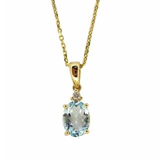 Kabella 14k Yellow Gold Aquamarine Diamond Accent Necklace