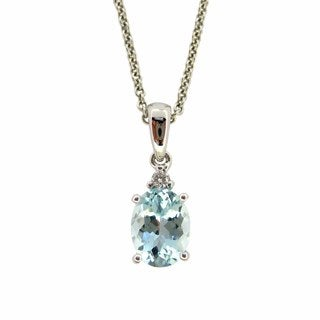 Kabella 14k White Gold Aquamarine Diamond Accent Nekclace