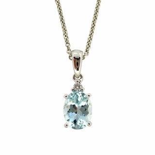 Kabella 14k White Gold Aquamarine Diamond Accent Nekclace