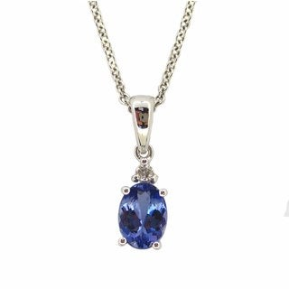 Kabella Luxe 14k White Gold Tanzanite Diamond Accent Necklace