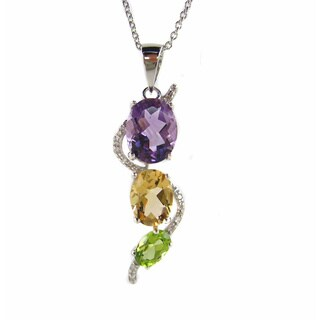 Kabella Sterling Silver Multi-gemstone Chakra Journey Pendant Necklace