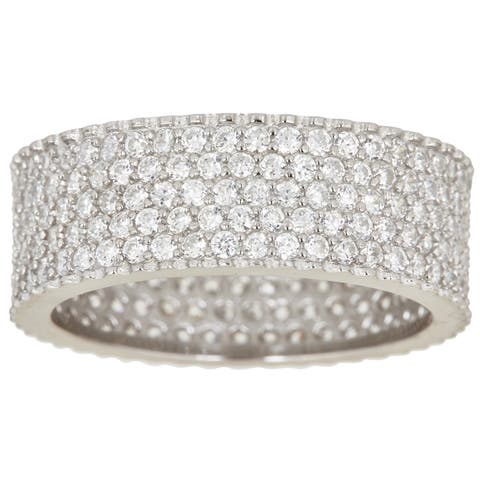Decadence Sterling Silver Cubic Zirconia 5-row Micropave Eternity Ring