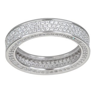 Decadence Sterling Silver 3-row Cubic Zirconia Micropave Eternity Ring