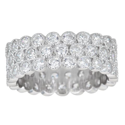 Decadence Sterling Silver 3-row Cubic Zirconia Bubble Micropave Eternity Ring