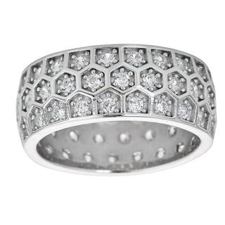 Decadence Sterling Silver Microapve Cubic Zirconia Honeycomb Eternity Ring