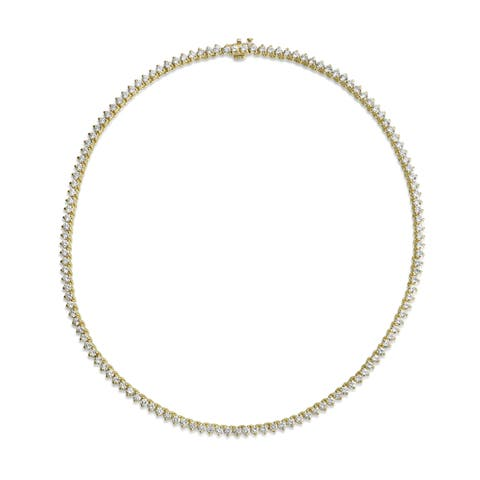 SummerRose 18k Yellow Gold 11 1/2ct TDW Diamond Tennis Necklace