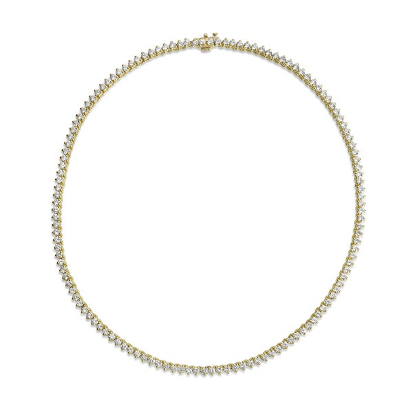 SummerRose 18k Yellow Gold 11 1/2ct TDW Diamond Tennis Necklace