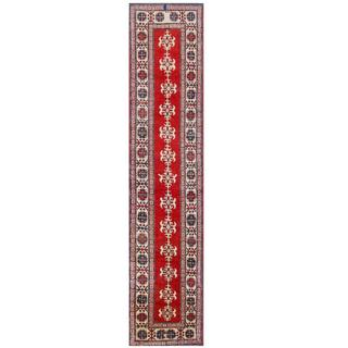 Herat Oriental Afghan Hand-knotted Tribal Kazak Red/ Ivory Wool Rug (2'8 x 11'11)