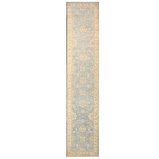 Herat Oriental Afghan Hand-knotted Tribal Kazak Light Blue/ Ivory Wool Rug (4' x 20')
