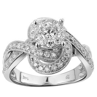 14k White Gold 1ct TDW White Diamond Swirl Band Engagement Ring