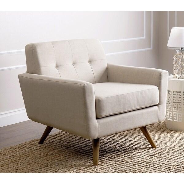Abbyson Bradley Mid Century Ivory Fabric Armchair