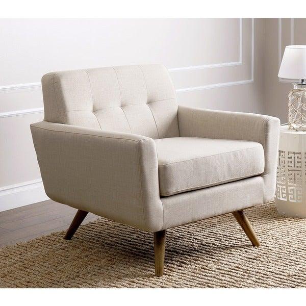 Superieur Abbyson Bradley Ivory Mid Century Fabric Armchair