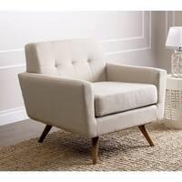 Abbyson Bradley Ivory Mid-Century Fabric Armchair