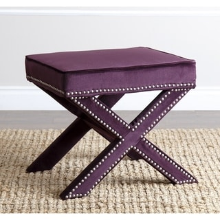 Abbyson Marcus Purple Nailhead Trim Ottoman Bench