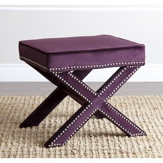 ABBYSON LIVING Marcus Purple Nailhead Trim Ottoman Bench