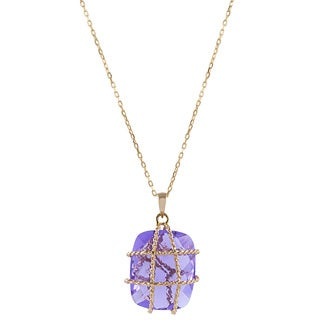 14k Gold Amethyst Rectangle Wire Wrapping Pendant Necklace