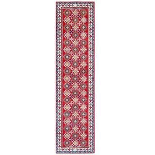 Herat Oriental Afghan Hand-knotted Tribal Kazak Red/ Ivory Wool Rug (2'6 x 10')