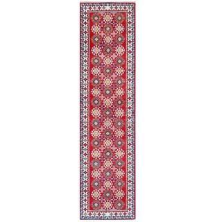 Herat Oriental Afghan Hand-knotted Tribal Kazak Wool Runner (2'6 x 10')