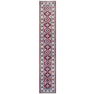Handmade One-of-a-Kind Kazak Wool Runner (Afghanistan) - 2'4 x 13'4