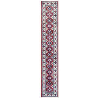 Herat Oriental Afghan Hand-knotted Tribal Kazak Red/ Ivory Wool Rug (2'4 x 13'4)