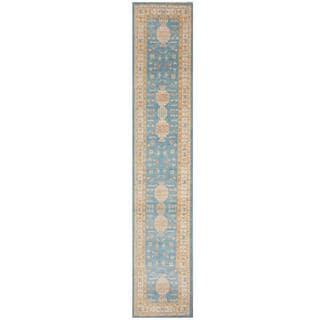 Herat Oriental Afghan Hand-knotted Tribal Kazak Light Blue/ Ivory Wool Rug (2'11 x 19'9)