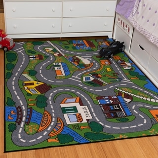 Ottomanson Jenny Babies Collection Multicolor Non-slip Rubber Children's City Streets Design Area Rug (5' x 6'6)