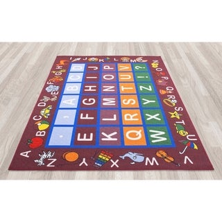 Ottomanson Jenny Babies Collection Red Non-slip Rubber Children's Educational Design Area Rug (7'10 x 10'6)