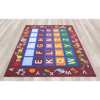Ottomanson Jenny Babies Collection Red Non-slip Rubber Children's Educational Design Area Rug (8' x 10')|https://ak1.ostkcdn.com/images/products/9959412/P17112342.jpg?impolicy=medium
