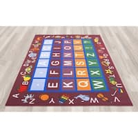 Ottomanson Jenny Babies Collection Red Nylon/Nonslip Rubber Children's Educational-design Area Rug (8'2 x 9'10)